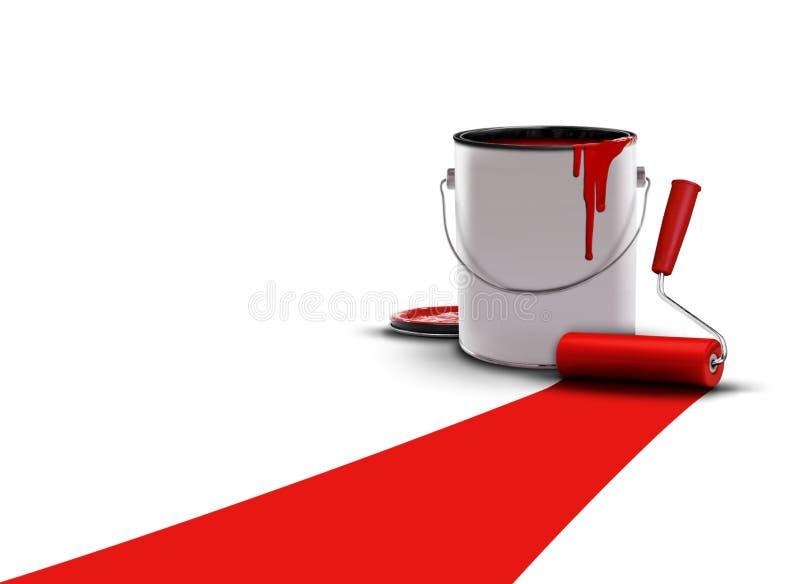 kan måla den målade röda rullen royaltyfri illustrationer