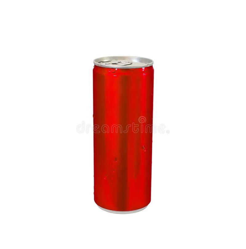 Kan sodavatten för läsken för röd färg för aluminium isolerat på vit arkivfoton