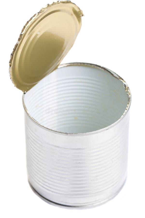 kan tömma öppen tin för etiketten royaltyfria bilder