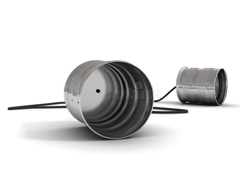 kan tin för kommunikationsbegreppstelefonen vektor illustrationer