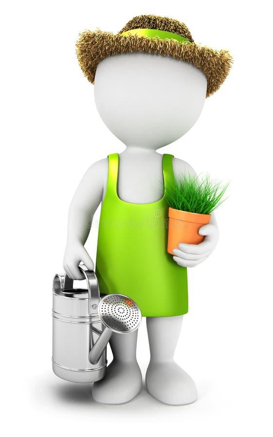 kan trädgårdsmästaren för vitt folk 3d med bevattna vektor illustrationer