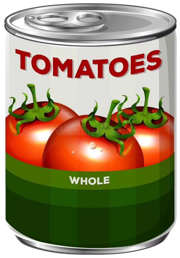 Kan van gehele tomaten stock illustratie
