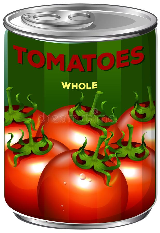 Kan van tomatengeheel royalty-vrije illustratie