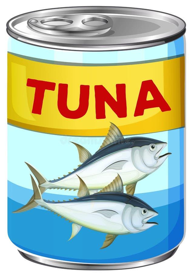 Kan van verse tonijn royalty-vrije illustratie