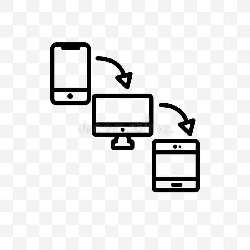Kan wordt geïsoleerd het dwars-platform vector lineaire die pictogram op transparante achtergrond, het concept van de dwars-Platf royalty-vrije illustratie