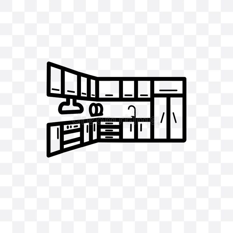kan wordt geïsoleerd het keukenkast vector lineaire die pictogram op transparante achtergrond, het concept van de keukenkasttrans vector illustratie