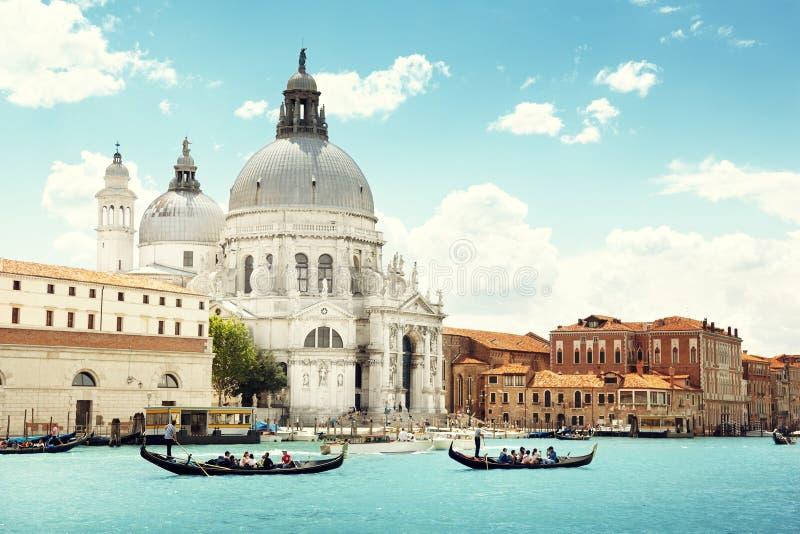 Kanał Grande i bazyliki Santa Maria della Salutuje, Wenecja obrazy stock