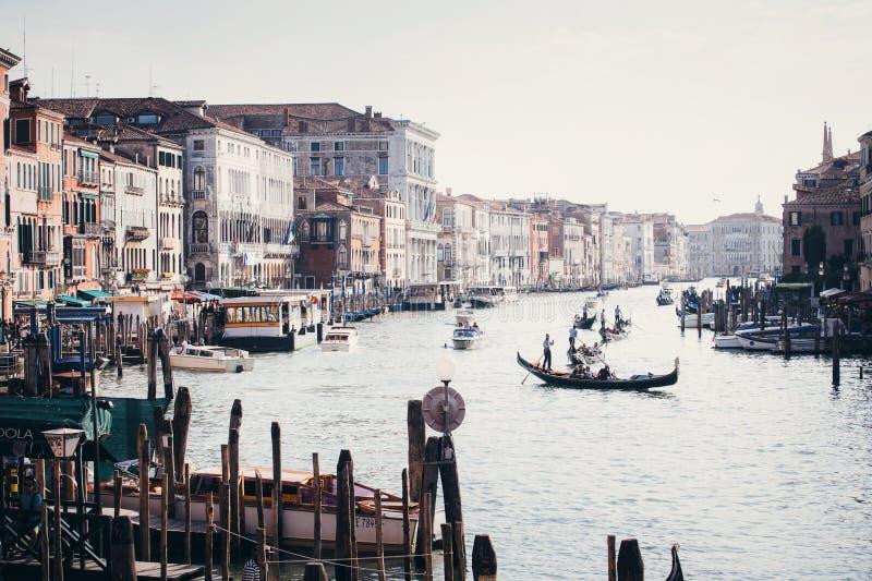 Kanał Grande z gondolami w Wenecja fotografia royalty free