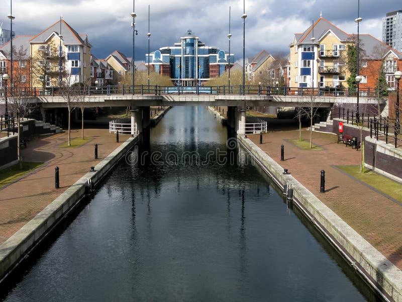 Kanał przy Salford Quays, Machester zdjęcie stock