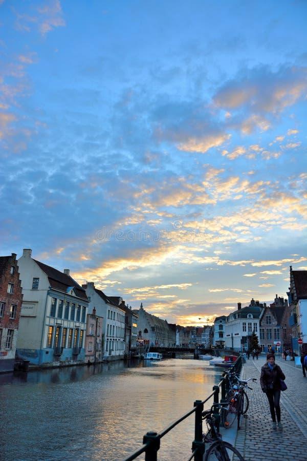 Kanał w historycznym mieście Ghent zdjęcie royalty free