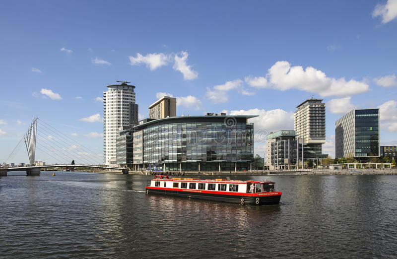 Kanałowa łódź, Salford Quats, Machester, Anglia obrazy royalty free