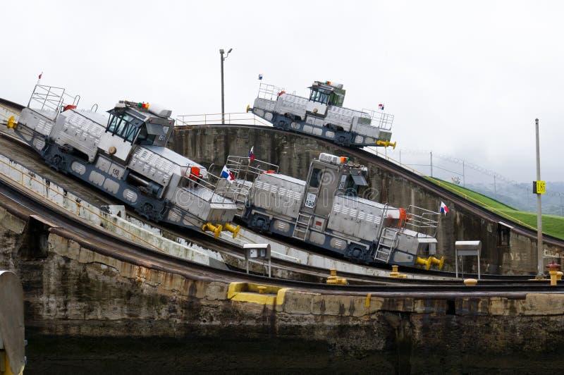 kanałowe elektryczne lokomotywy Panama trzy zdjęcie stock