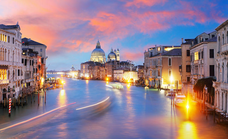 Kanałowy Grande z bazyliki Di Santa Maria della salutem w Wenecja zdjęcia royalty free