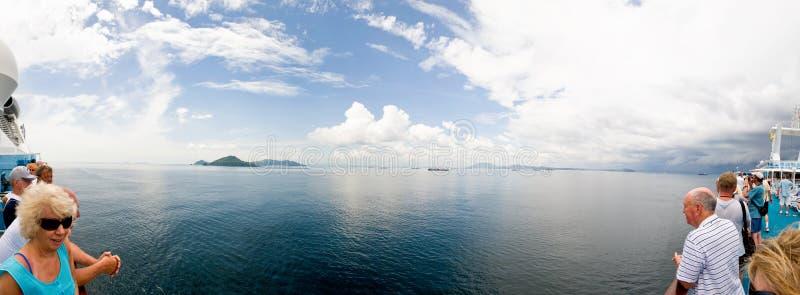 kanałowy rejsu Panama pano statku widok zdjęcia stock