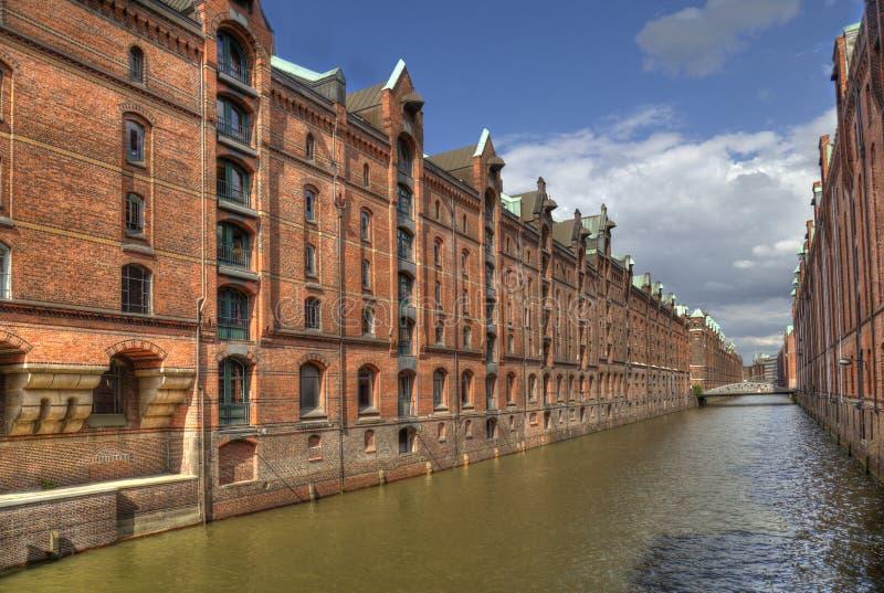Kanały i magazyny w Hamburgu, Niemcy zdjęcia stock