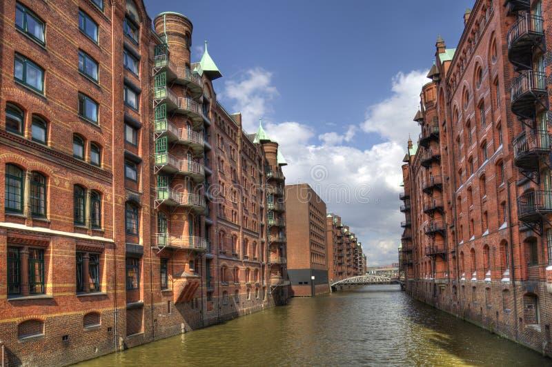 Kanały i magazyny w Hamburgu, Niemcy zdjęcie stock