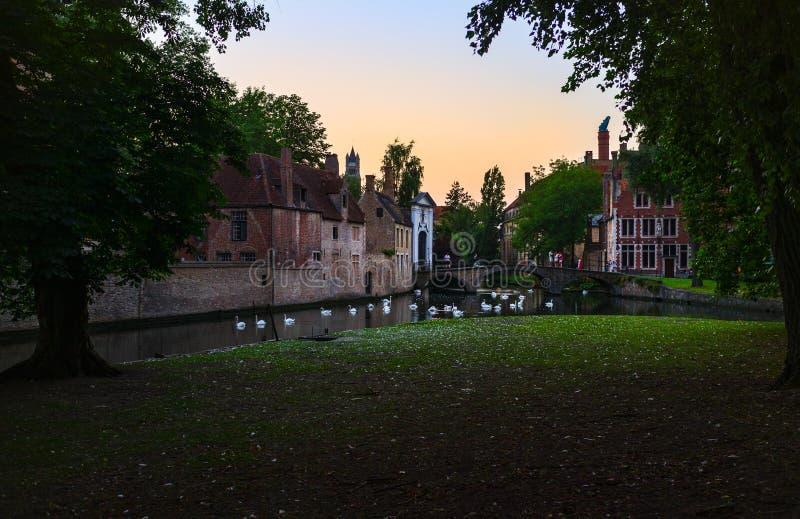 Kanały stary miasto Bruges Belgia obraz royalty free