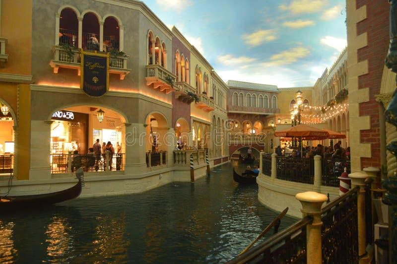 Kanały Wenecja Wśrodku Weneckiego hotelu Na Las Vegas pasku Podróż wakacje fotografia royalty free