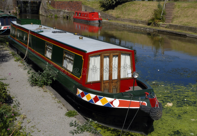 Kanaal Narrowboats stock foto's