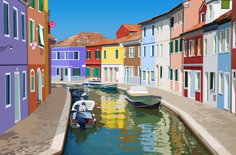 Kanaal in Venetië vector illustratie