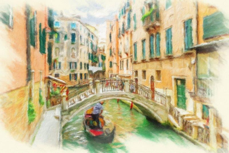 Kanaal in Venetië, Italië vector illustratie