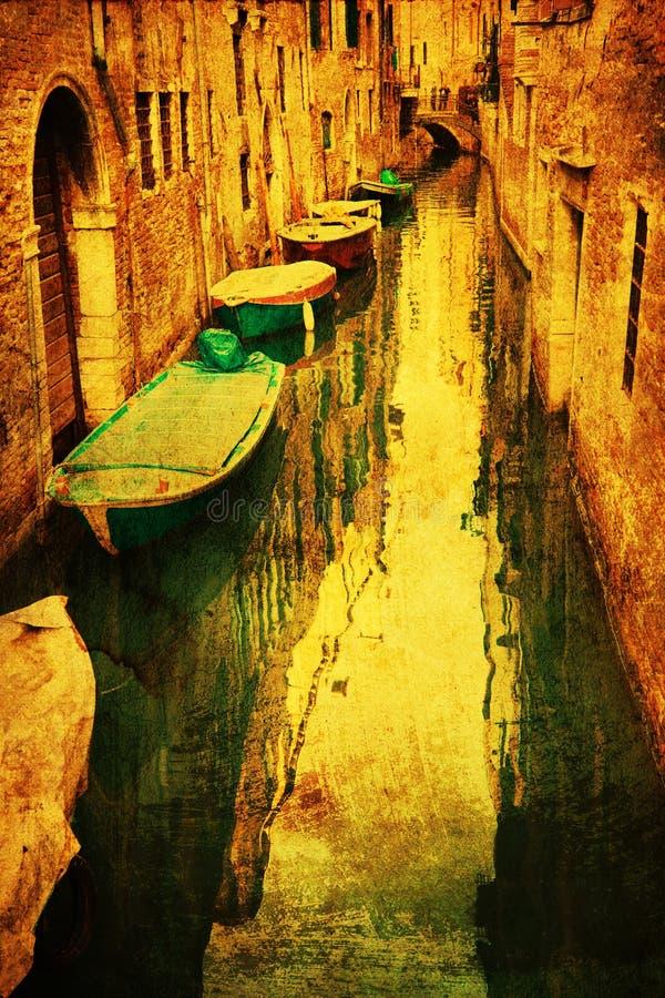 Kanaal in Venetië met grungetextuur royalty-vrije illustratie