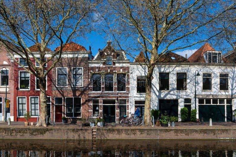 Kanaalrand bij Gouda in Nederland royalty-vrije stock foto