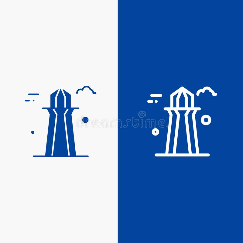 Kanada, Co wierza, Kanada wierza, budynek linii i glifu Stałej ikony sztandaru glifu, Błękitnej ikony błękita Stały sztandar ilustracja wektor