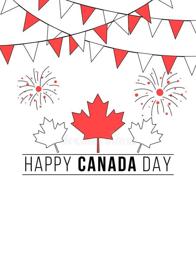 Kanada dagbaner med buntings och fyrverkerier vektor illustrationer