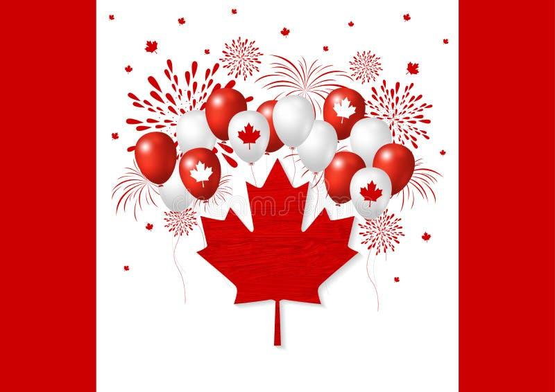 Kanada dagdesign av flaggan och ballongen med fyrverkerivektorn royaltyfri illustrationer