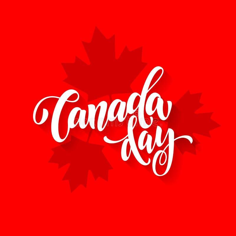 Kanada dagkort med affischen för lönnlövtryckmodell royaltyfri illustrationer