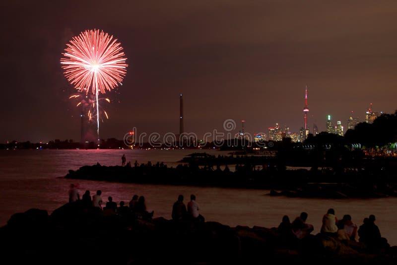 Kanada dnia fajerwerki obrazy stock