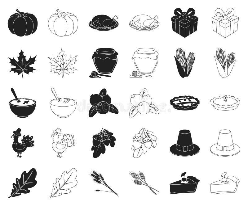 Kanada dziękczynienia dnia czerń, kontur ikony w ustalonej kolekcji dla projekta Kanada i tradycja symbolu zapasu wektorowa sieć royalty ilustracja