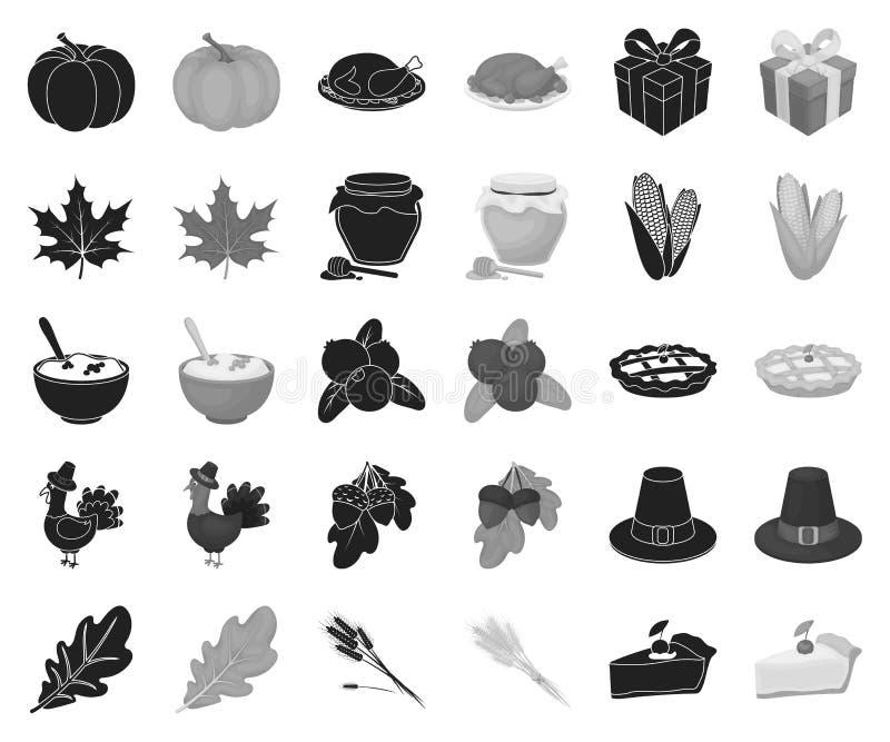 Kanada dziękczynienia dnia czerń, monochromatyczne ikony w ustalonej kolekcji dla projekta Kanada i tradycja symbolu wektorowy za ilustracji