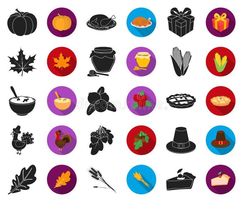 Kanada dziękczynienia dnia czerń, płaskie ikony w ustalonej kolekcji dla projekta Kanada i tradycja symbolu zapasu wektorowa sieć royalty ilustracja