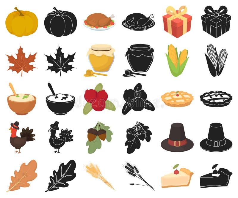 Kanada dziękczynienia dnia kreskówka, czarne ikony w ustalonej kolekcji dla projekta Kanada i tradycja symbolu zapasu wektorowa s ilustracja wektor