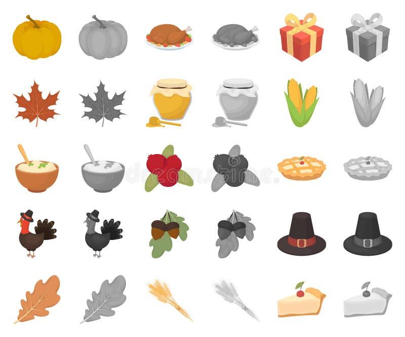 Kanada dziękczynienia dnia kreskówka, monochrom ikony w ustalonej kolekcji dla projekta Kanada i tradycja symbolu wektorowy zapas royalty ilustracja