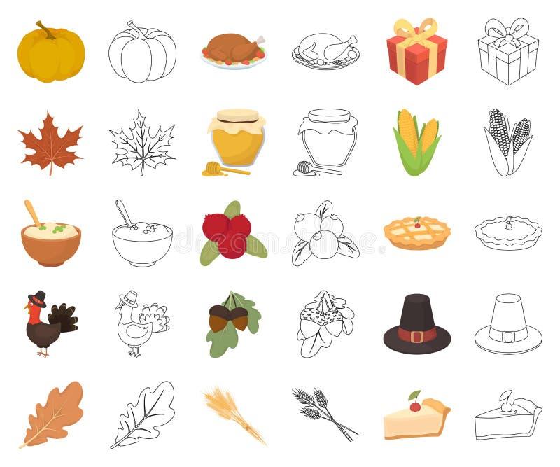 Kanada dziękczynienia dzień kreskówka, kontur ikony w ustalonej kolekcji dla projekta Kanada i tradycja symbolu zapasu wektorowa  ilustracja wektor