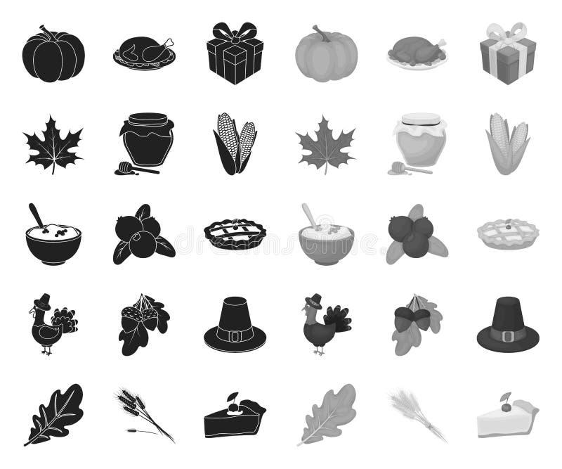 Kanada dzi?kczynienia dnia czer? mono ikony w ustalonej kolekcji dla projekta Kanada i tradycja symbolu zapasu wektorowa sie? ilustracji