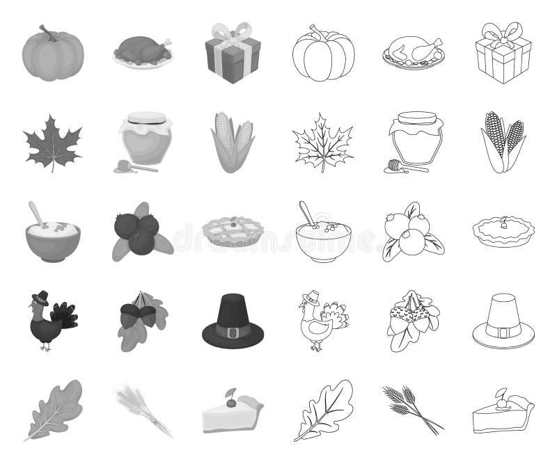 Kanada dziękczynienia dzień mono, kontur ikony w ustalonej kolekcji dla projekta Kanada i tradycja symbolu zapasu wektorowa sie? royalty ilustracja