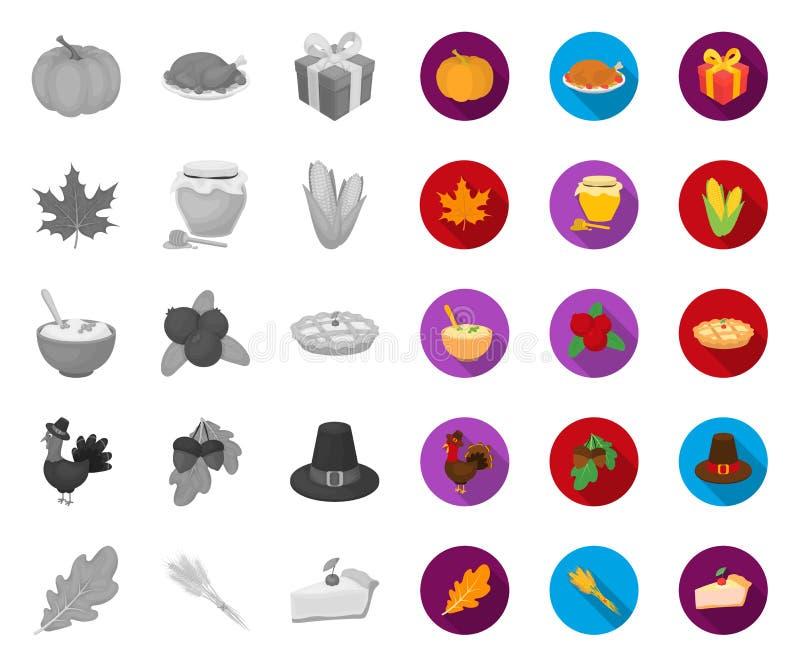 Kanada dziękczynienia dzień mono, płaskie ikony w ustalonej kolekcji dla projekta Kanada i tradycja symbolu zapasu wektorowa sie? royalty ilustracja