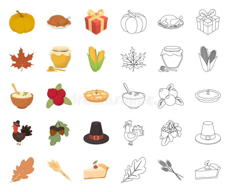 Kanada dzi?kczynienia dzie? kresk?wka, kontur ikony w ustalonej kolekcji dla projekta Kanada i tradycja symbolu zapasu wektorowa  ilustracja wektor