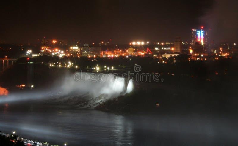 Kanada faller den niagara natten arkivfoto