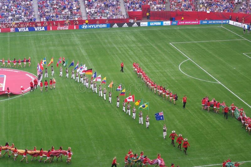 Kanada FIFA kvinnors flaggor 2015 för världscup fotografering för bildbyråer