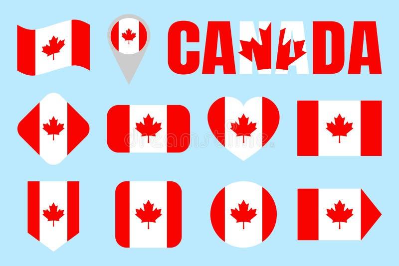 Kanada flaga kolekcja Kanadyjczyk flaga ustawiać Wektorowy mieszkanie odizolowywać ikony z stanu imieniem Tradycyjni kolory Sieć, ilustracji