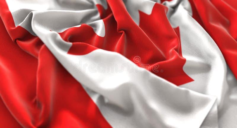 Kanada flaga zakończenia Napuszony Pięknie Macha Makro- strzał zdjęcia royalty free