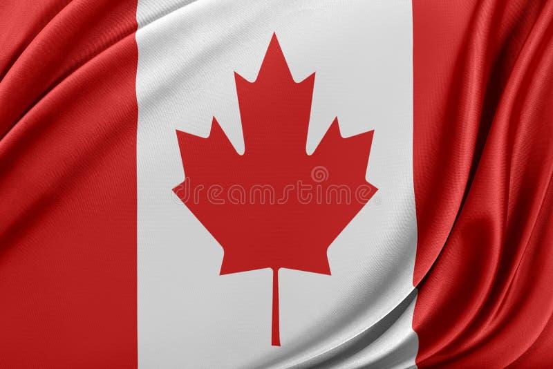 Kanada flagga med en glansig siden- textur vektor illustrationer