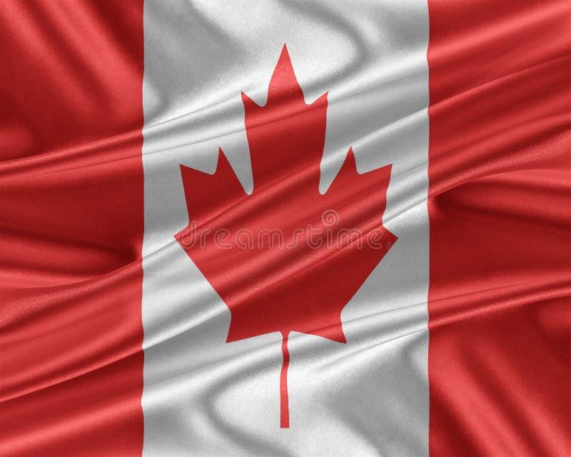 Kanada flagga med en glansig siden- textur royaltyfri illustrationer