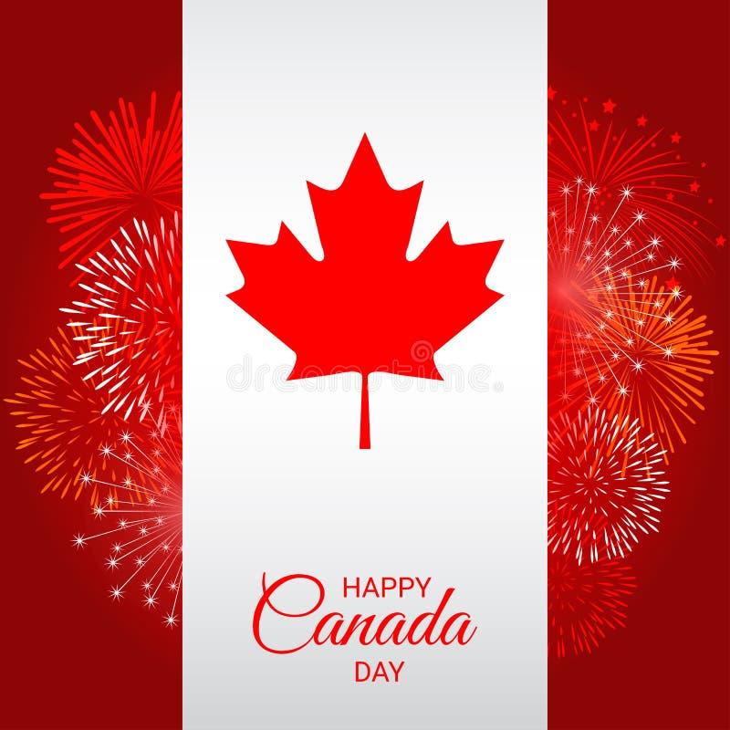 Kanada flagga med fyrverkerier för nationell dag av Kanada royaltyfri illustrationer