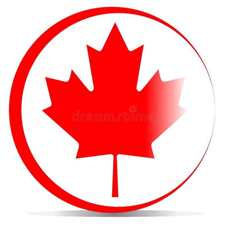 Kanada flagga med lönnlövet royaltyfri illustrationer